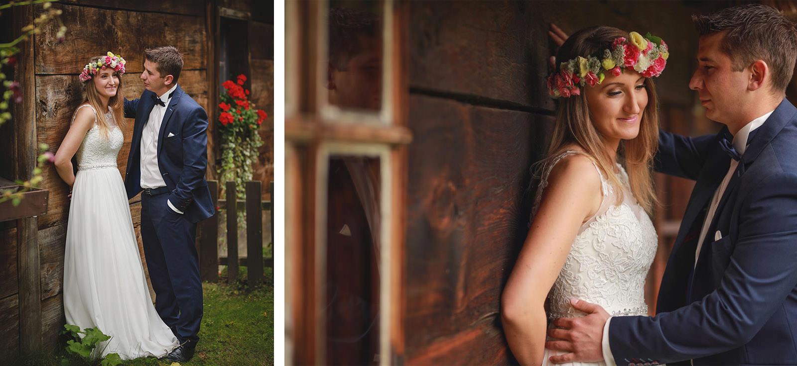 sesja ślubna z wiankiem z kwiatów polnych