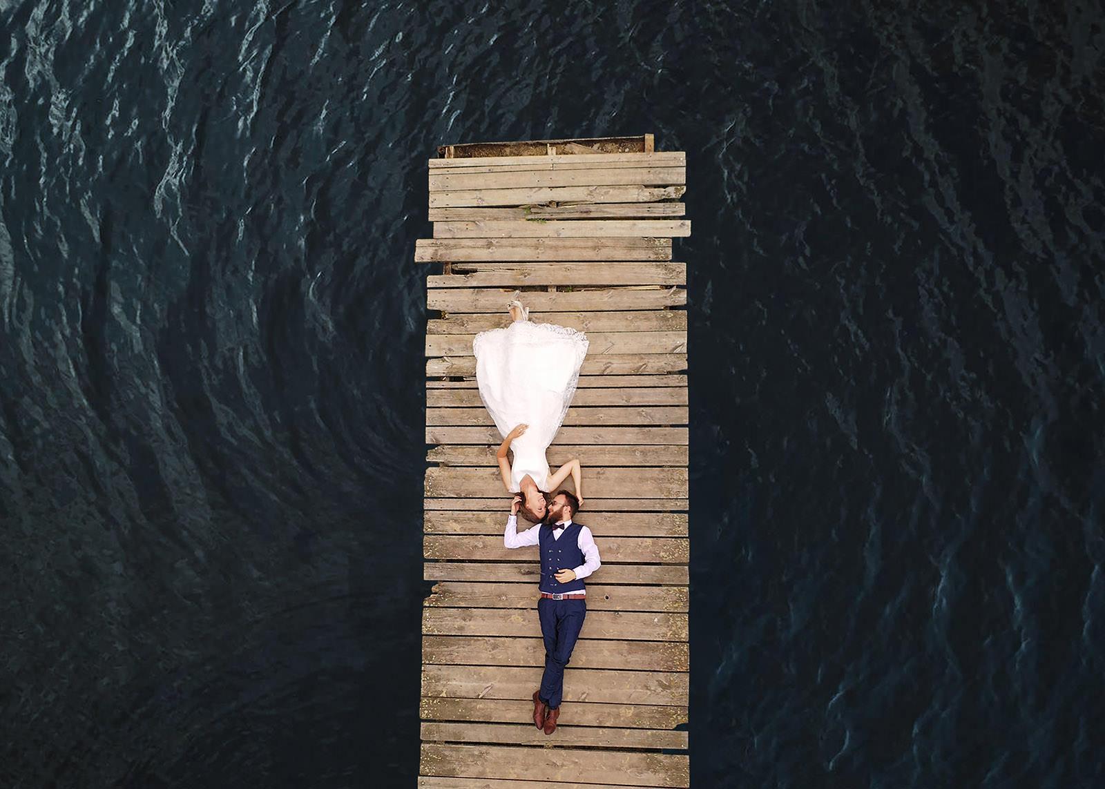 sesja ślubna z drona
